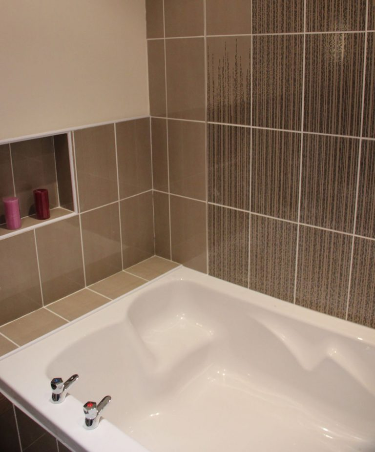 Ensuite Bathroom with Huge Bath designed especially for two people, separate large Walk-in Shower and Underfloor Heating